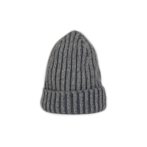 Two Toned Grey Ribbed Hat