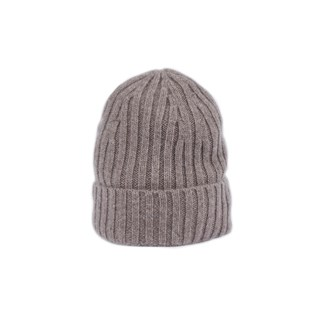 Mud Brown Rib-Knit Cashmere Hat