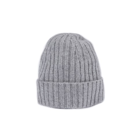 Grey Rib-Knit Cashmere Hat