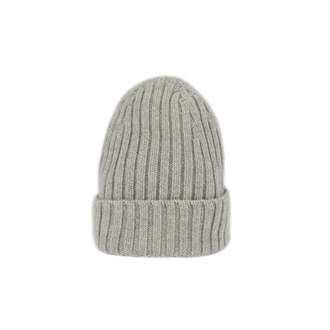 Grey Rib-knitted Cashmere Hat