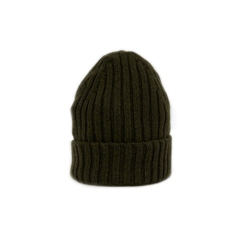 Green Rib-knitted Cashmere Hat