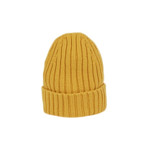 Yellow Rib-knitted Cashmere Hat