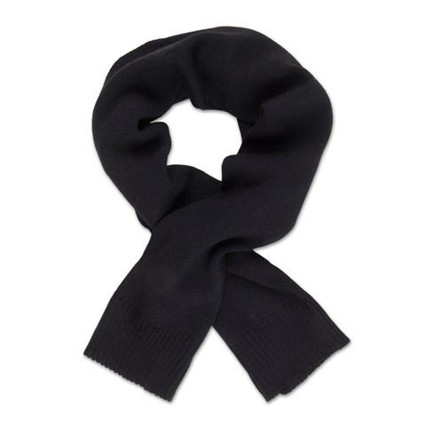 Black Knitted Merino Wool Scarf