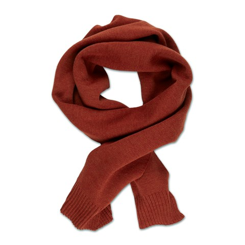 Rust Knitted Merino Wool Scarf