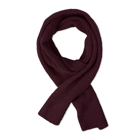 Bordeaux Rib-Knitted Scarf