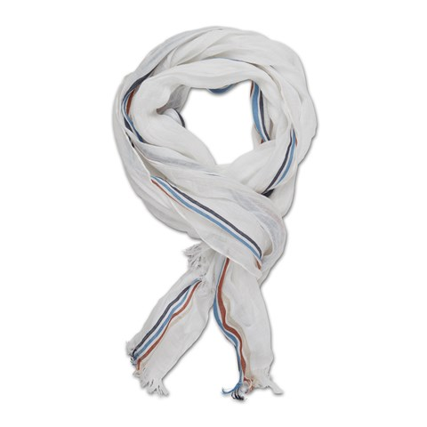 White Linen Scarf With Stripes