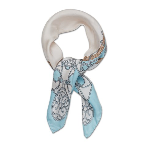 Turquoise Chain Silk Scarf