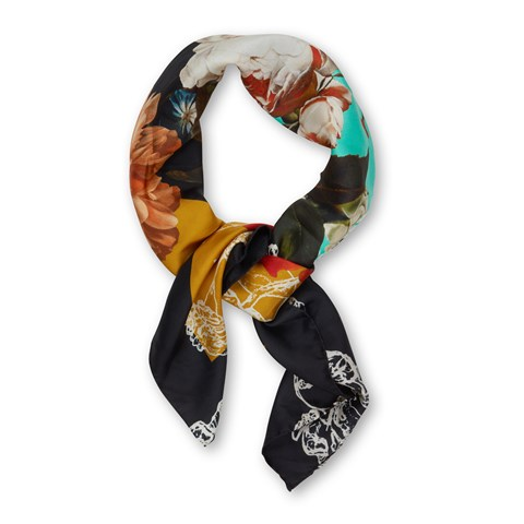 Colorful Floral Silk Scarf