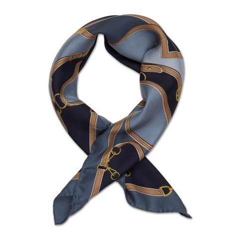 Blue Bridle Patterned Silk Scarf