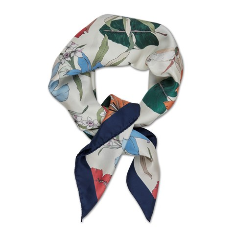 Navy Lily Flower Silk Scarf