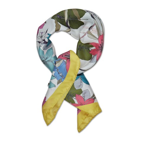 Yellow Lily Flower Silk Scarf