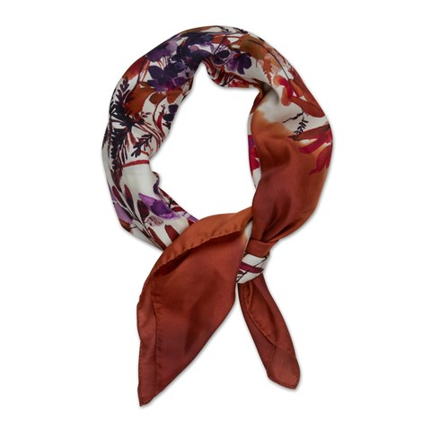 Orange Bouquet Motif Silk Scarf