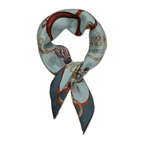 Petrol Tassel Patterned Silk Scarf
