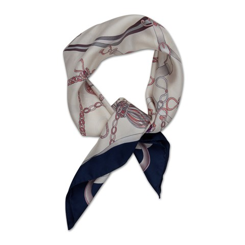 Navy Tassel Patterned Silk Scarf