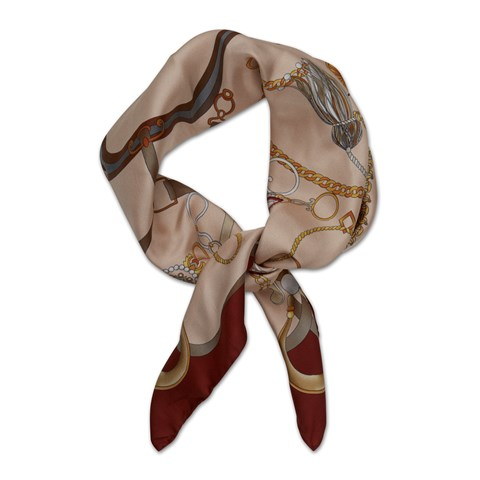 Burgundy Tassel Patterned Silk Scarf