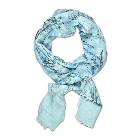 Light Blue Flower Motif Scarf