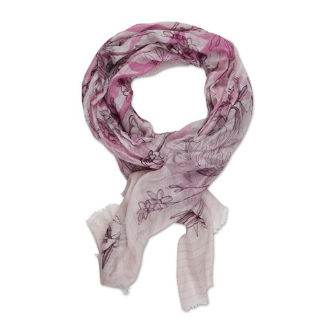 Light Pink Flower Motif Scarf
