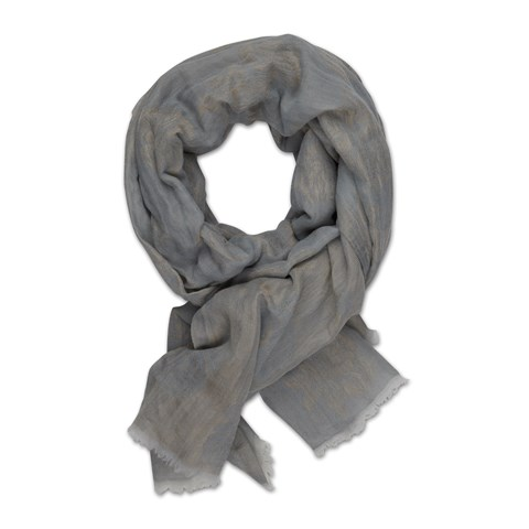 Silver Metallic Flowers Scarf