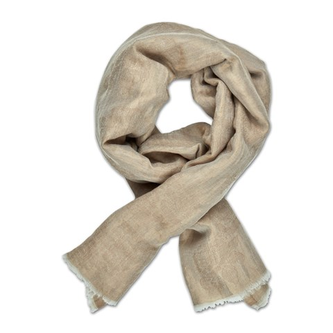 Beige Metallic Flowers Scarf