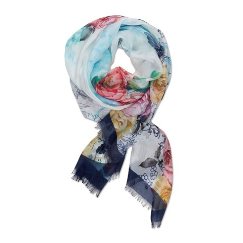 Navy Flower Patterned Silk Scarf