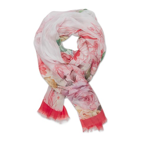 Pink Flower Patterned Silk Scarf