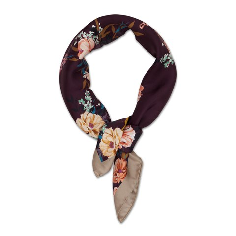 Purple Floral Silk Scarf