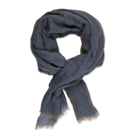 Blue Herringbone Wool Scarf