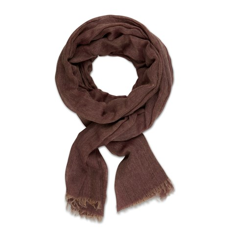 Burgundy Herringbone Wool Scarf