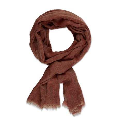 Brown Herringbone Wool Scarf