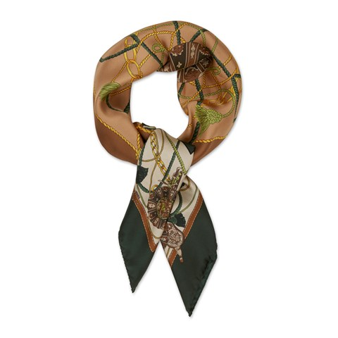 Brown Tassels Motif Silk Scarf