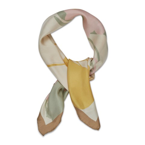 Pastel Watercolor Motif Silk Scarf