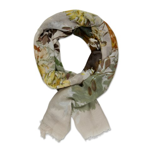 Green/Yellow Flower Scarf