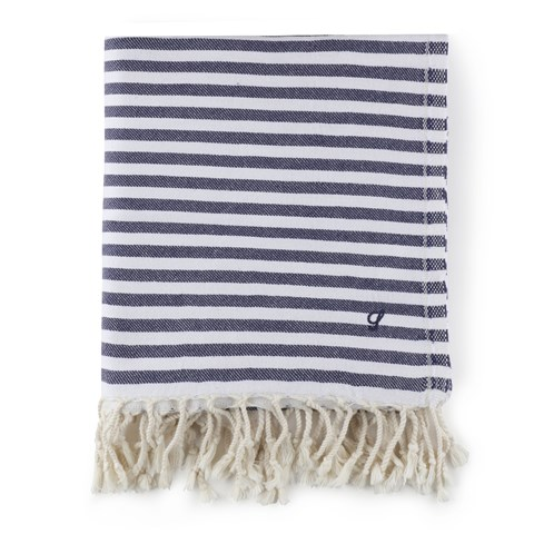 Striped Beach Towel Navy
